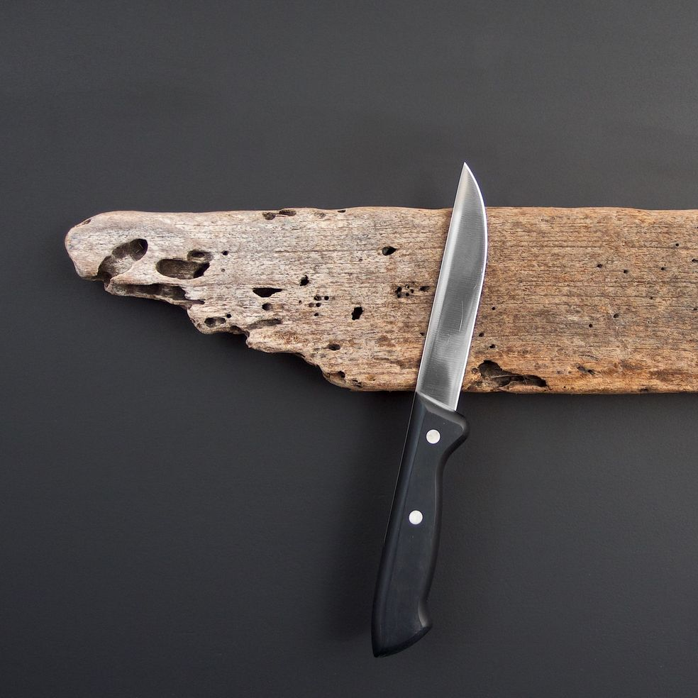 Driftwood knife bar found on the beach in Portugal with knife