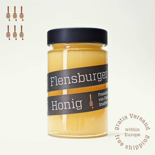 Six jars of Flensburger Honig, pressed honey coming from urban beekeeping in Flensburg